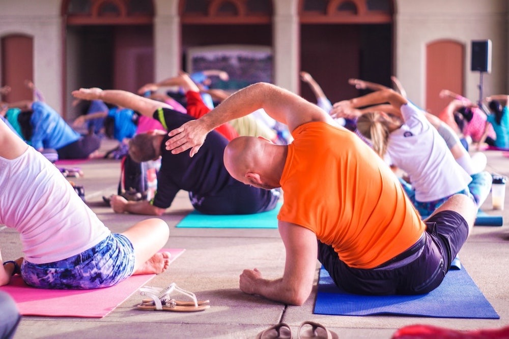 Group of people on a yoga retreat