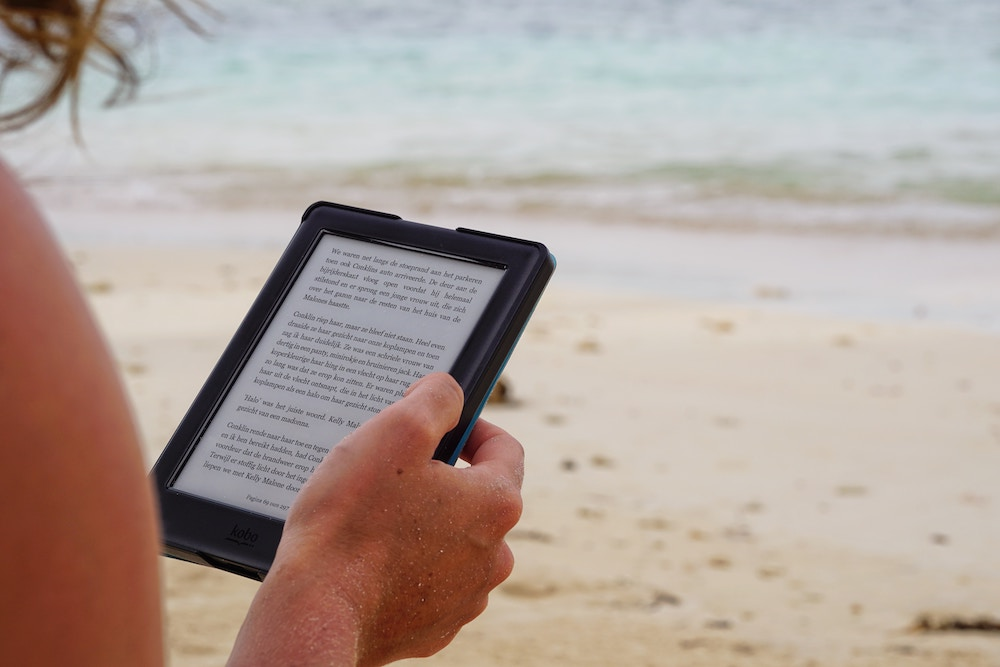Kindle tablet and a beach